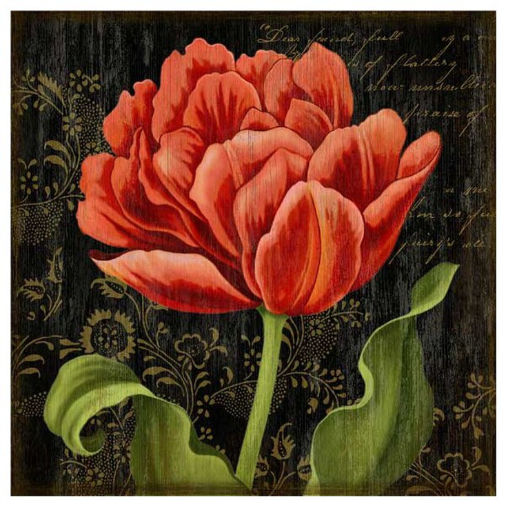 Dutch Tulip II Flower Vintage Style Wooden Sign