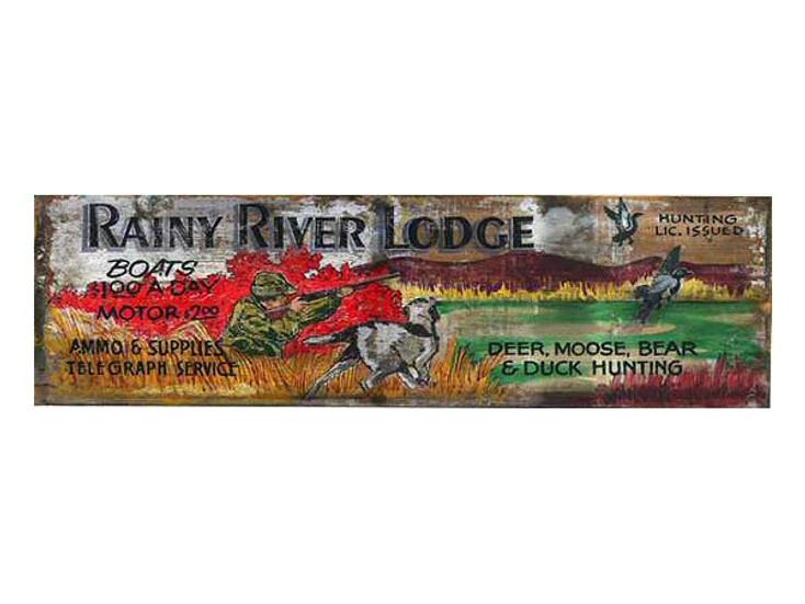 Custom Rainy River Lodge Vintage Style Wooden Sign