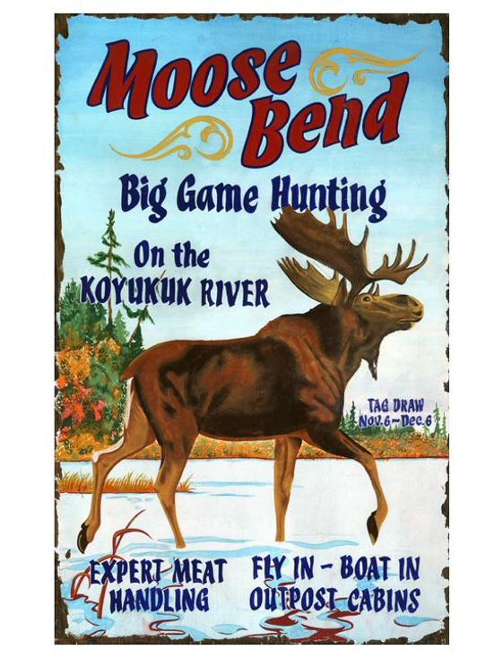Custom Moose Bend Vintage Style Wooden Sign