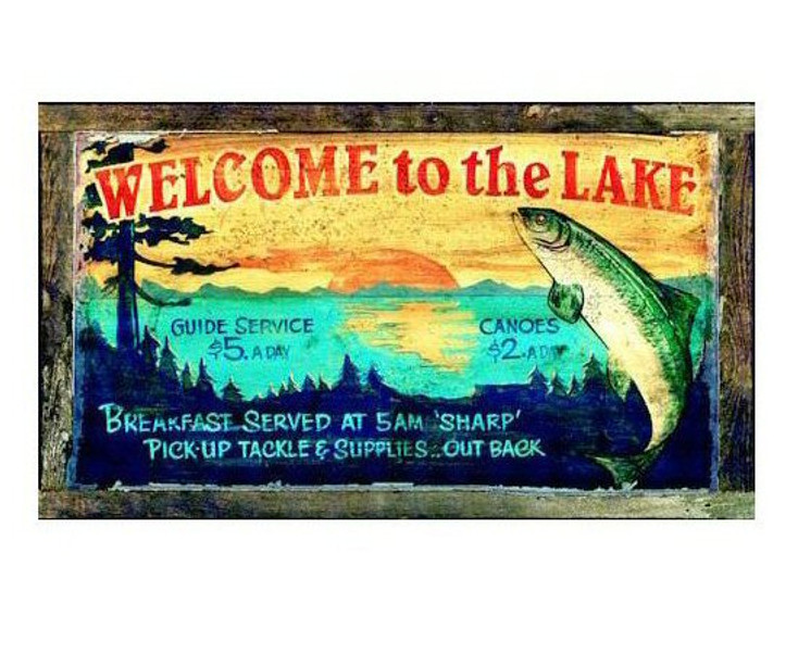 Custom Welcome to the Lake Vintage Style Wooden Sign
