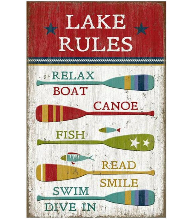 Custom Lake Rules with Oars Vintage Style Wooden Sign