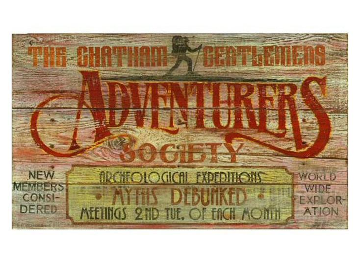 Custom Adventurers Club Vintage Style Wooden Sign