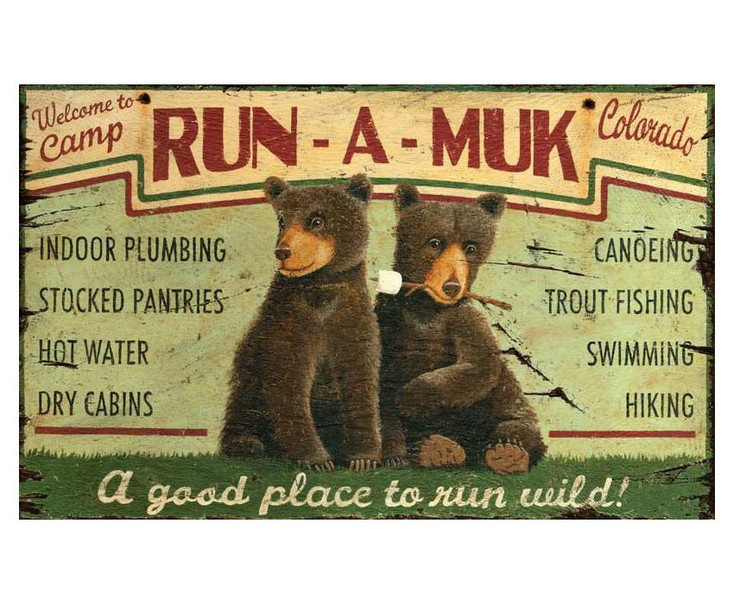 Custom Camp Run-A-Muk with Bears Vintage Style Wooden Sign