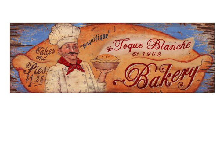 Custom La Toque Blanche Bakery Vintage Style Wooden Sign