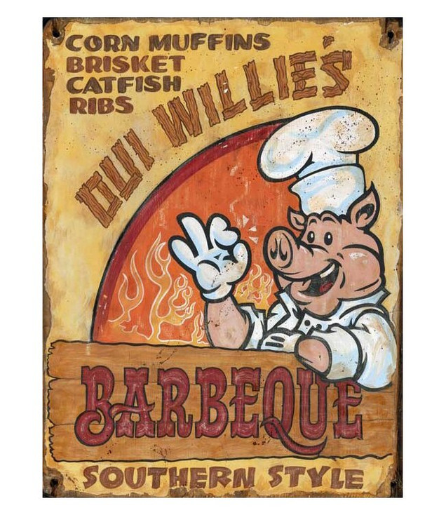 Custom Oui Willie's Barbeque Vintage Style Wooden Sign