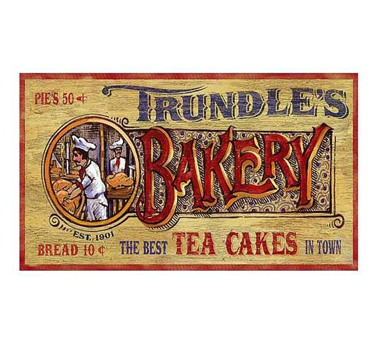 Custom Trundles Bakery Vintage Style Wooden Sign