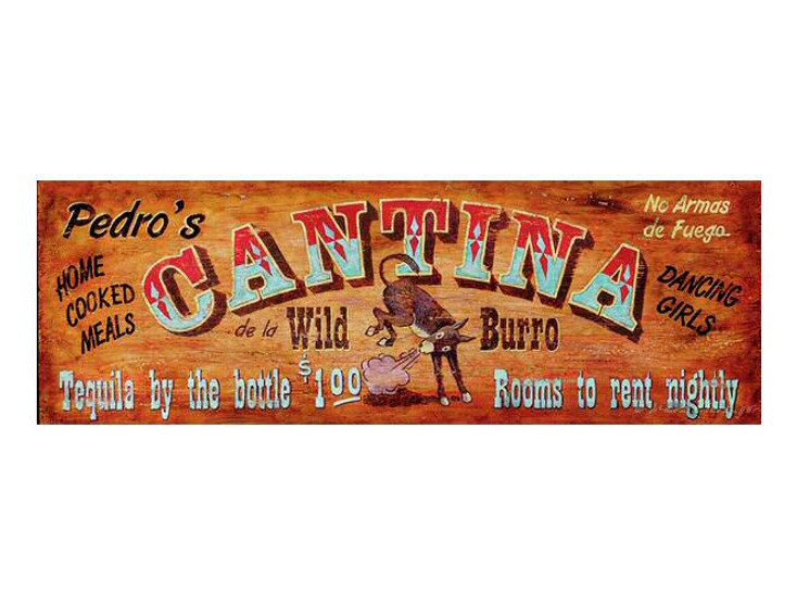 Custom Pedros Cantina Vintage Style Wooden Sign