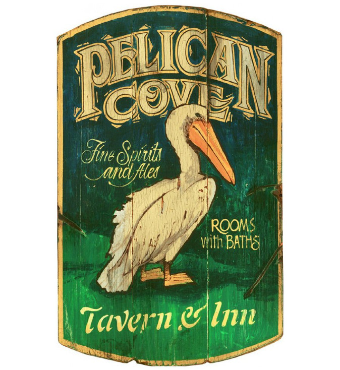 Custom Pelican Cove Tavern and Inn Vintage Style Wooden Sign