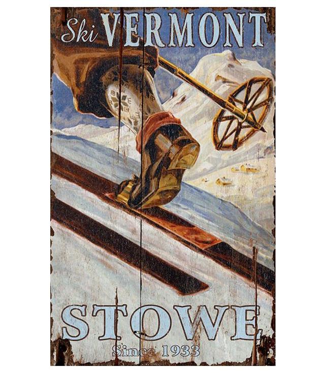 Custom Ski Stowe Vermont Skiing Vintage Style Wooden Sign