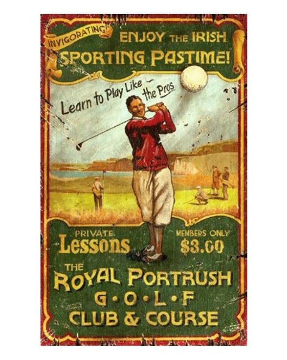 Custom Irish Golf Vintage Style Wooden Sign