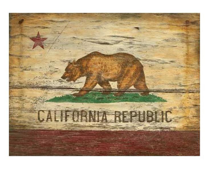 Custom California Flag Vintage Style Wooden Sign