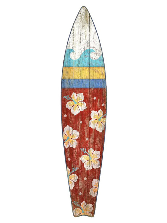 Red Surfboard Vintage Style Cutout Wooden Sign