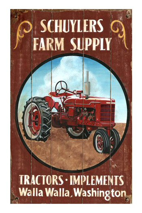 Custom Red Tractor Vintage Style Wooden Sign