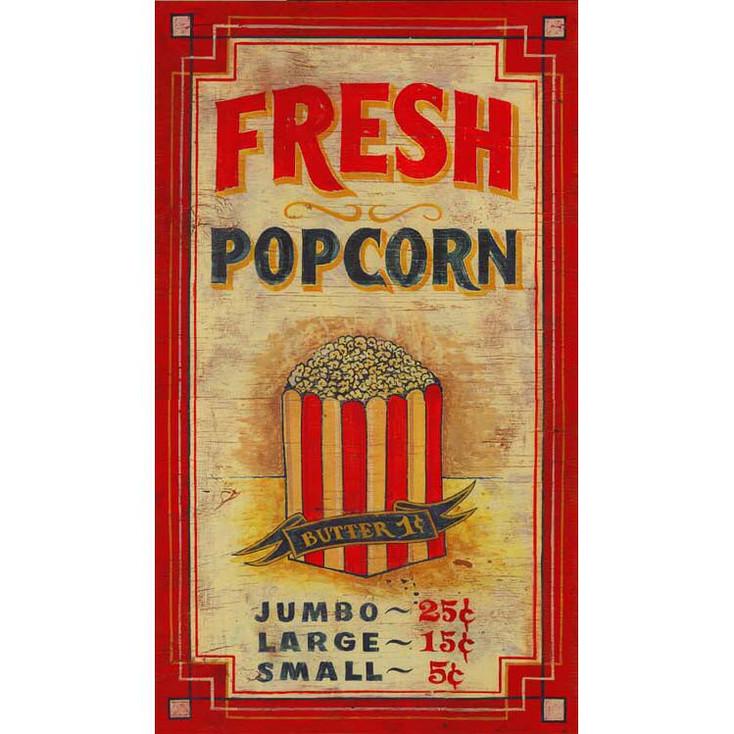 Custom Fresh Popcorn Vintage Style Wooden Sign