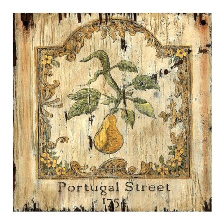 Custom Pear 1754 Portugal Street London Vintage Style Wood Sign
