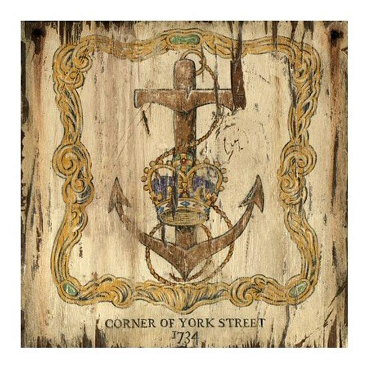 Custom Crown & Anchor 1734 York Street Vintage Style Wooden Sign
