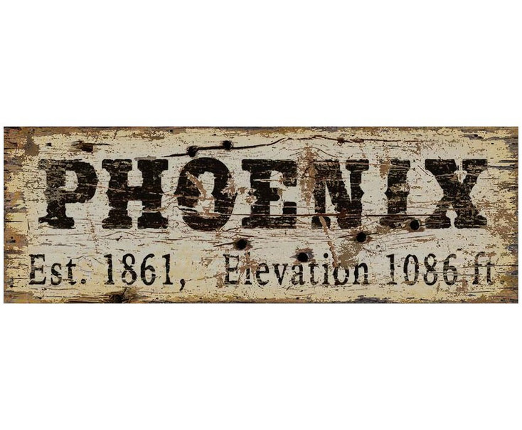 Custom Phoenix Est. 1861 & Elevation Vintage Style Wooden Sign