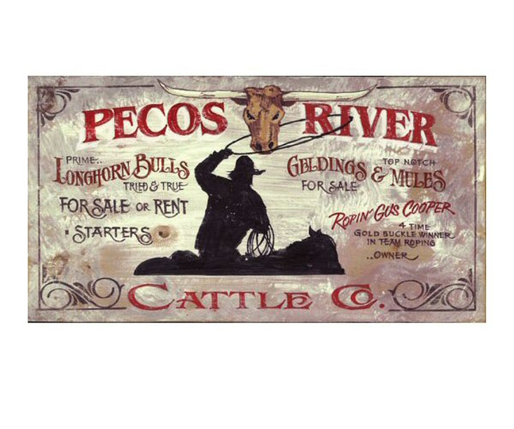 Custom Pecos River Vintage Style Wooden Sign