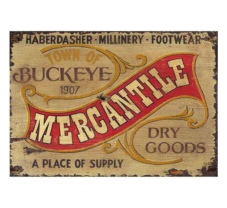 Custom Town of Buckeye Mercantile Vintage Style Wooden Sign