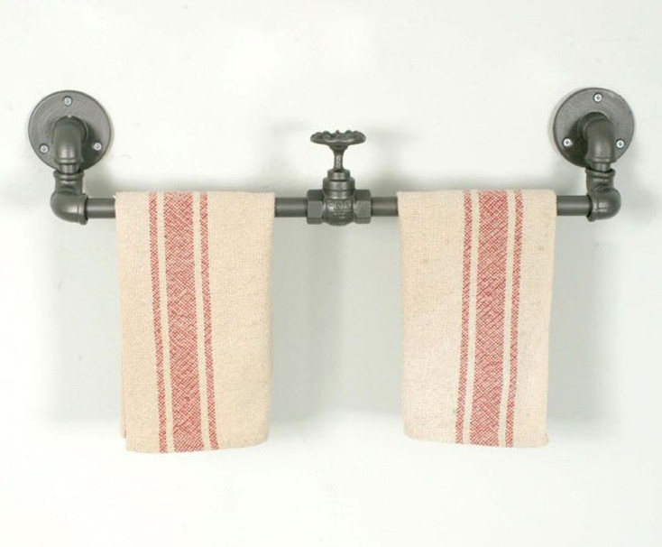 """23.5"""" Industrial Metal Towel Bars with Valves, Set of 2"""