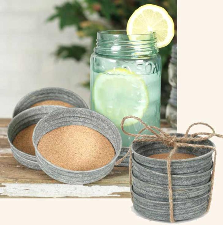 Barn Roof Mason Jar Lid Coasters, Set of 8