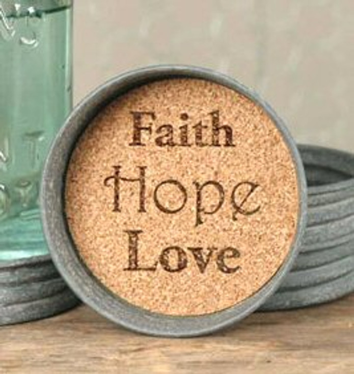 Barn Roof Faith Hope Love Mason Jar Lid Coasters, Set of 8
