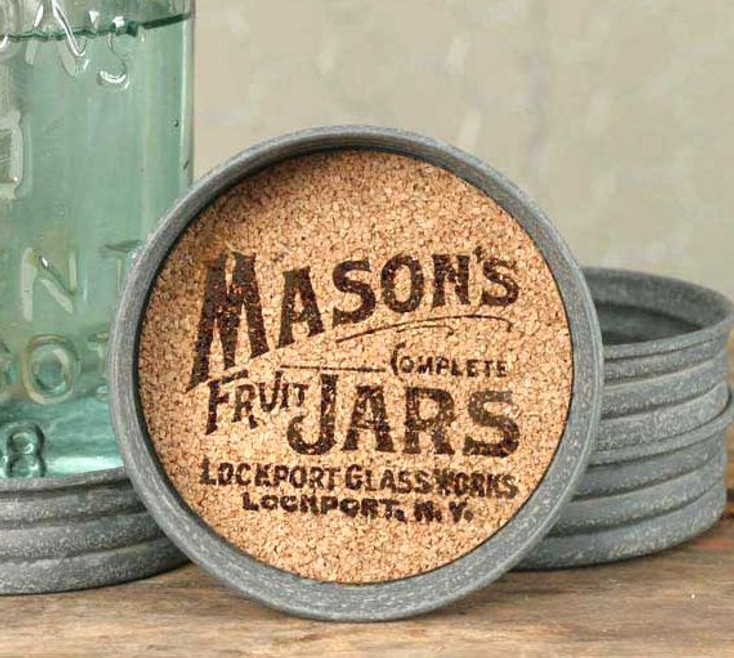 Barn Roof Mason's Jars Mason Jar Lid Coasters, Set of 8