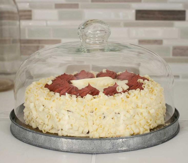 Glass Dessert Cloche with Metal Base