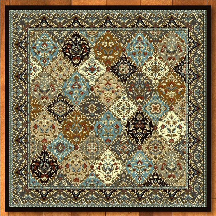 8' Badillo Multi Color Traditional Square Rug