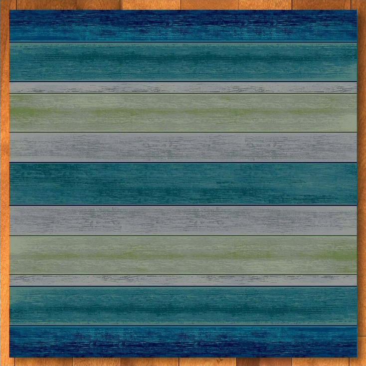 8' Bungalow Stripe Aqua Square Rug