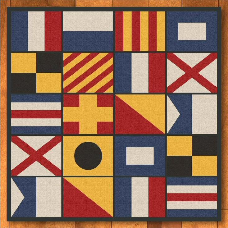 8' Nautical Signal Flag Square Rug