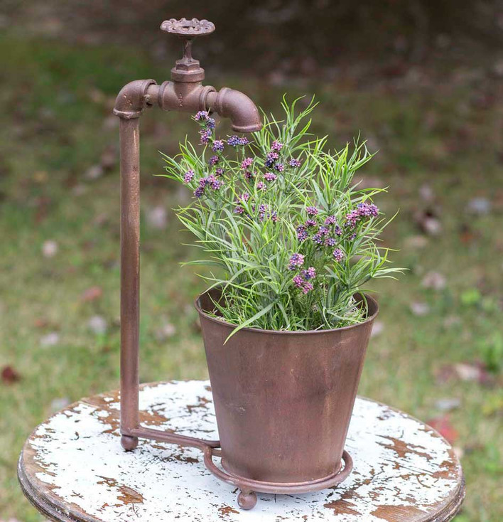 Metal Water Spigot Tabletop Planter with Metal Pot