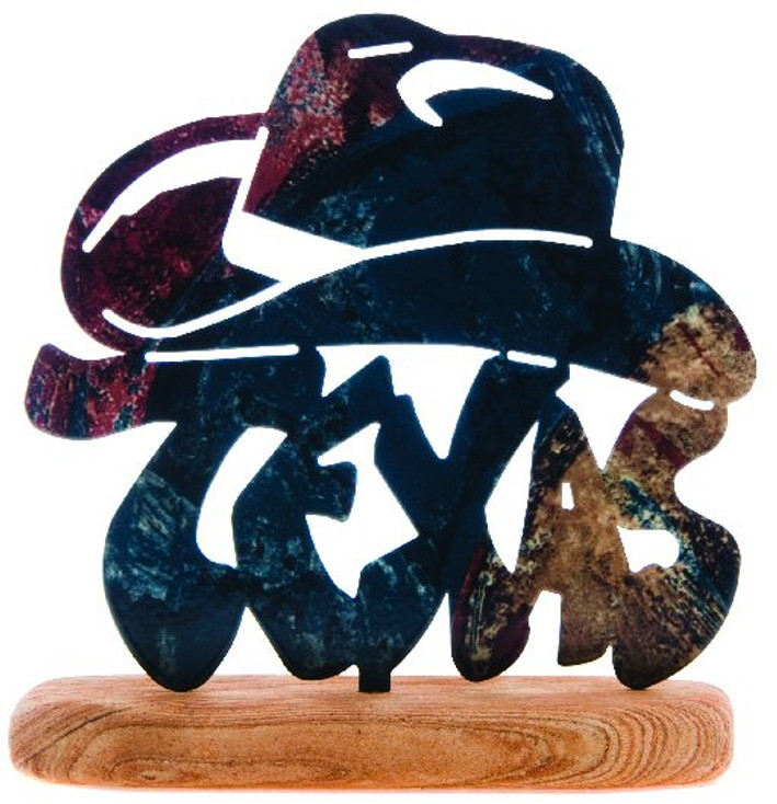 Hats Off to Texas Large Metal Rock Art