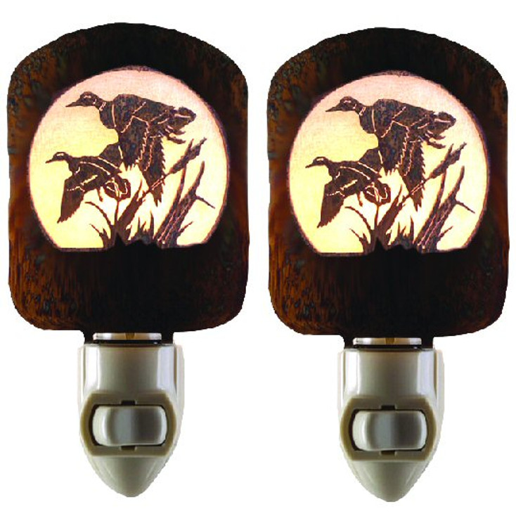Duck Scene Metal Night Lights, Set of 2