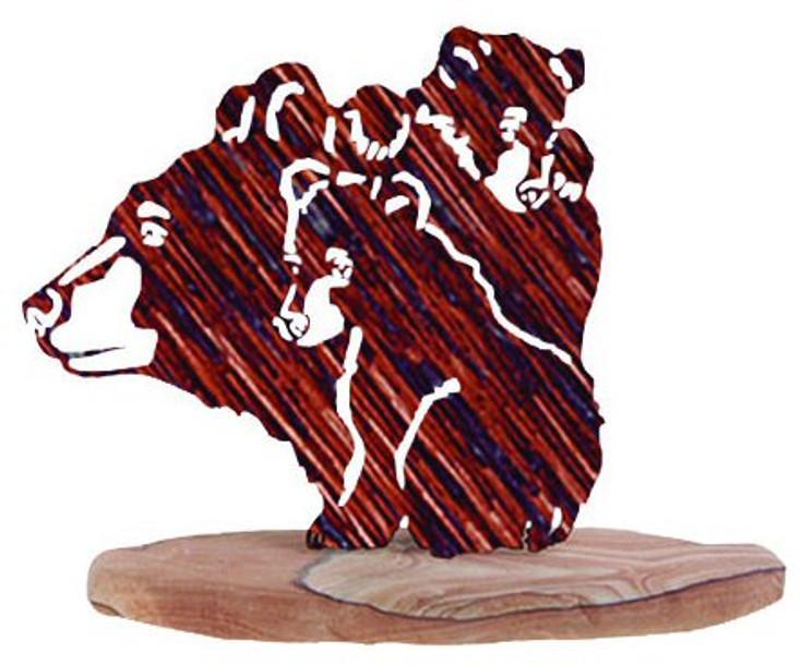 Triple Decker Bear Large Metal Rock Art