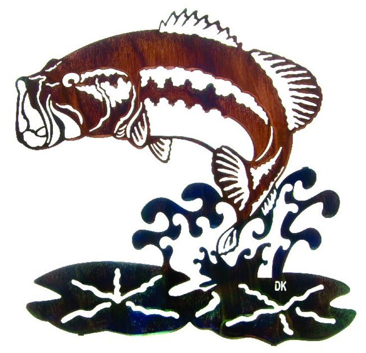 "22"" Jumping Bass Fish Metal Wall Art by Daniel Kirchner"