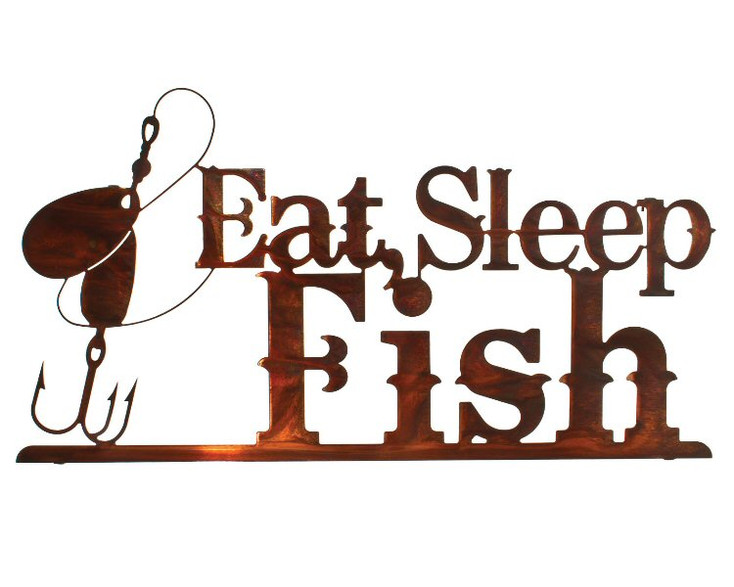 "24"" Eat Sleep Fish Metal Wall Art Honey Pinion Finish"