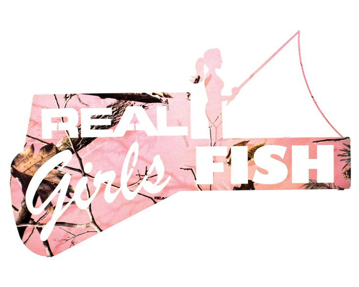 "22"" Real Girls Fish Metal Wall Art Realtree APC Pink Camo Finish"