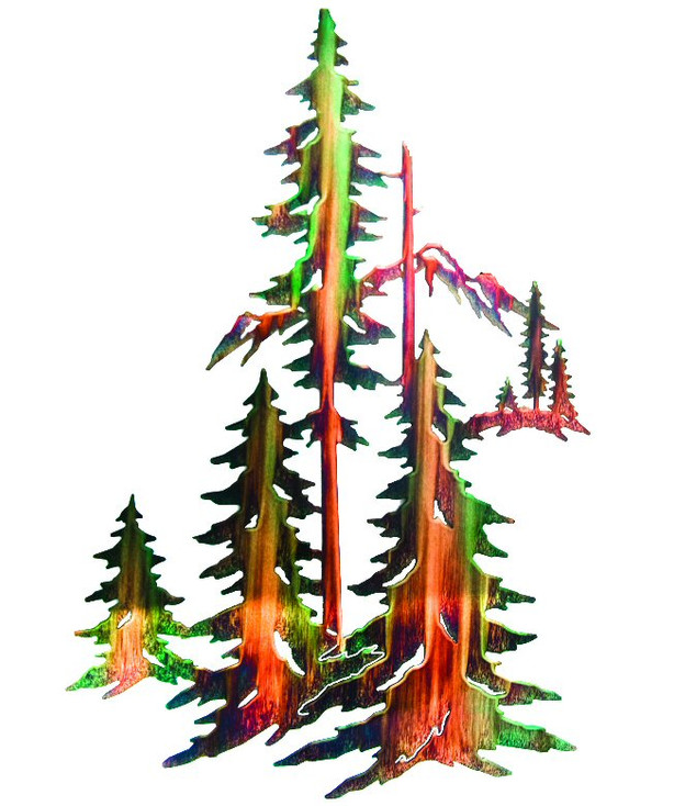 """30"""" Forest with Pine Trees and Mountains Metal Wall Art by Neil Rose"""