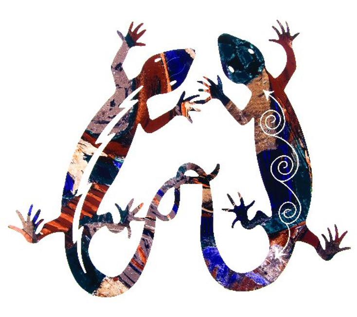 "18"" Gecko Lizard Tango Metal Wall Art by Neil Rose"
