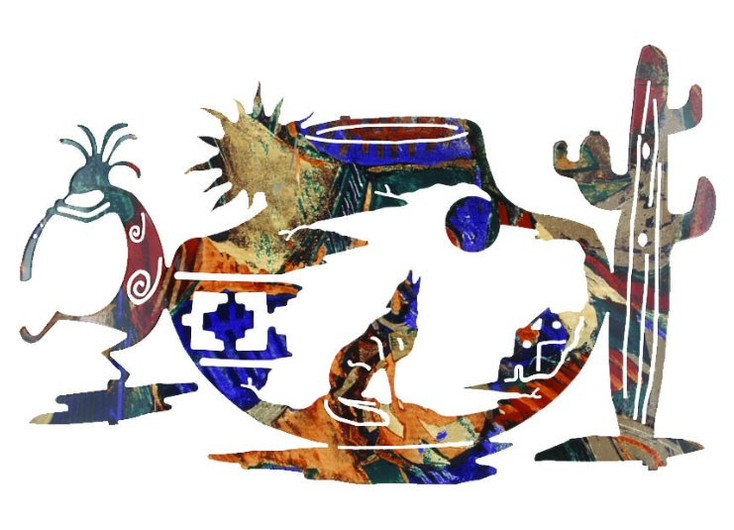 """24"""" Tapestry of the Southwest Kokopelli and Wolf Metal Wall Art"""