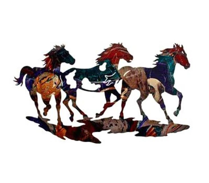 """26"""" Three Ponies on the Run Metal Wall Art"""