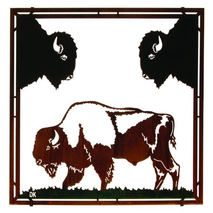 "22"" Buffalo Framed Metal Wall Art by Daniel Kirchner"