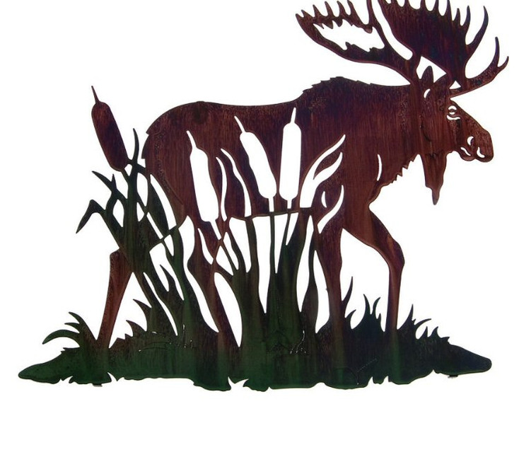 """24"""" Moose with Cattails Metal Wall Art by Neil Rose"""
