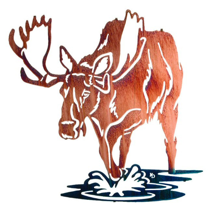 "30"" Bull of Rights Moose Metal Wall Art by Kathryn Darling"