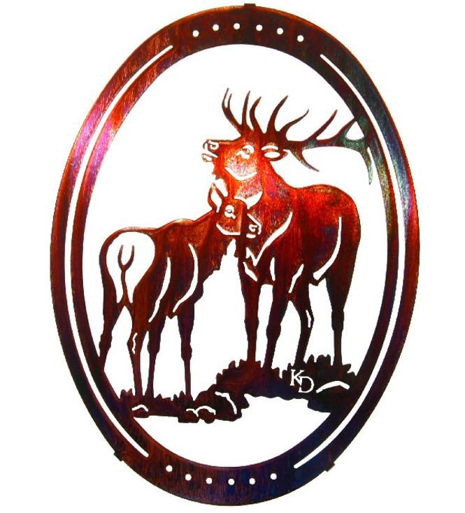 "16"" Oval Bugle Bull Elk Metal Wall Art by Kathryn Darling"