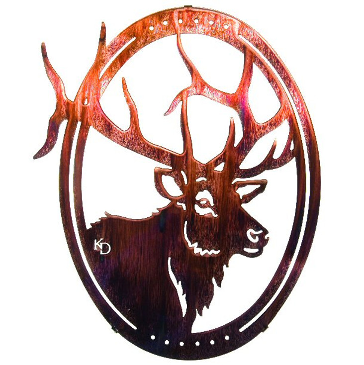 "16"" Oval Grand One Elk Metal Wall Art by Kathryn Darling"