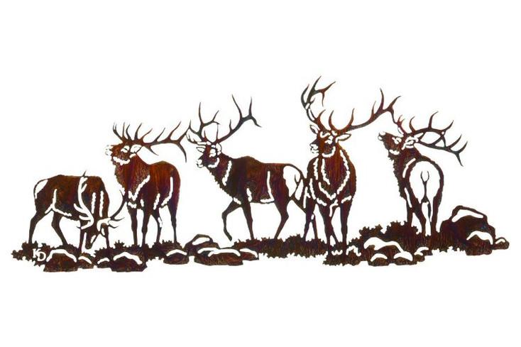 """30"""" Elk Scene Boys Night Out Metal Wall Art"""