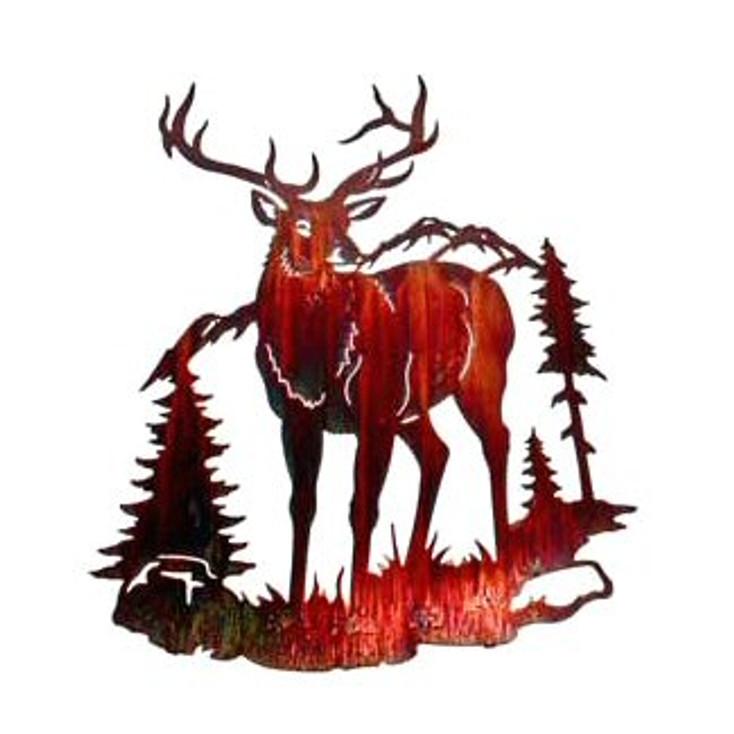 "26"" Elk Standing in the Mountains Metal Wall Art"