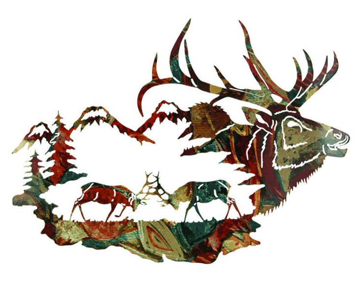 "30"" Reflections of the Wilderness Elk Metal Wall Art by Neil Rose"